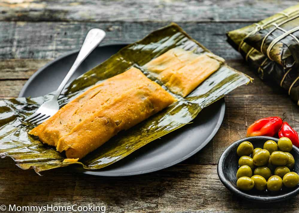 Venezuelan Hallaca over a banana leaf