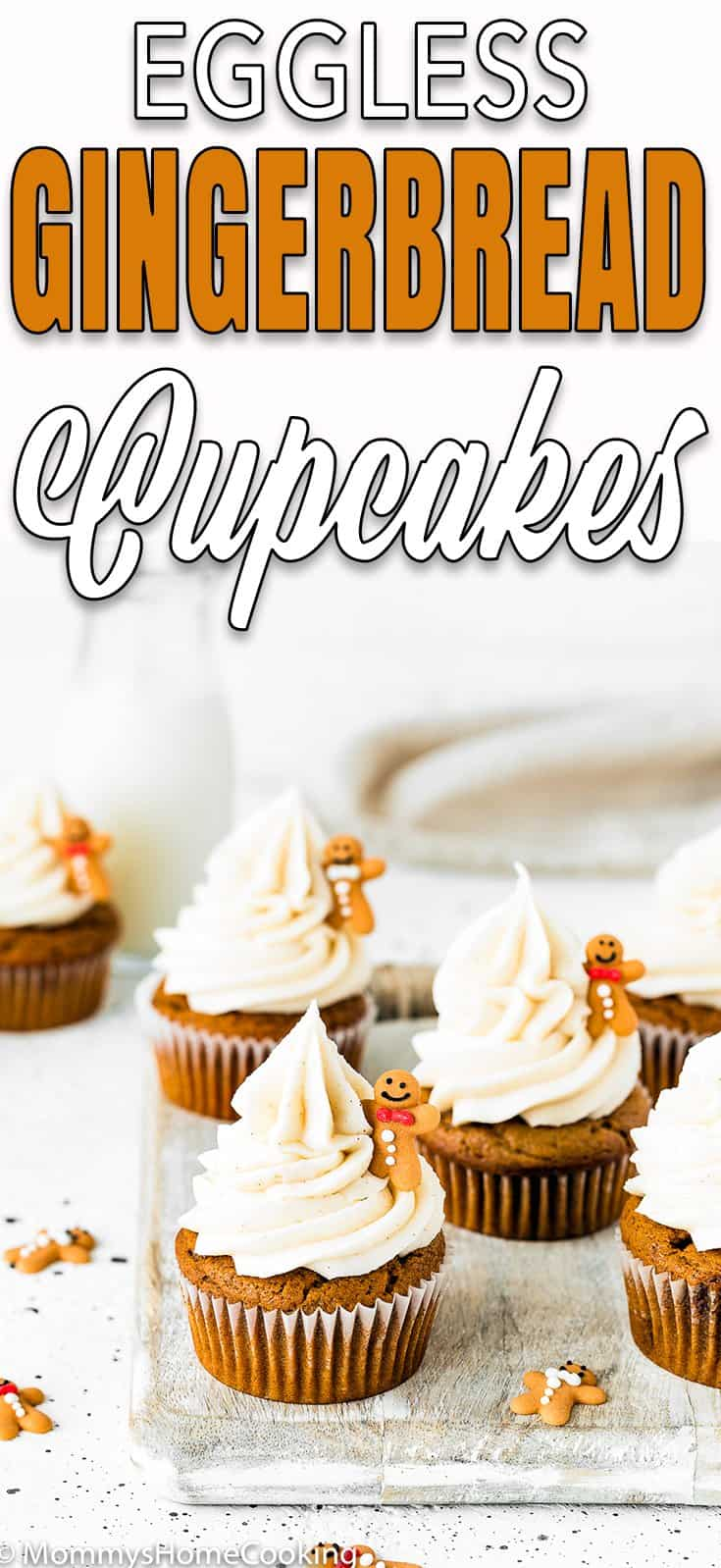 Easy Eggless Gingerbread Cupcakes with cream cheese frosting with descriptive text
