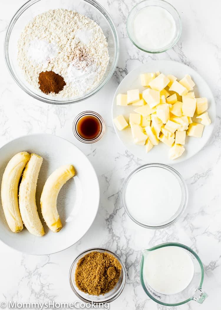 Easy eggless banana cake ingredients