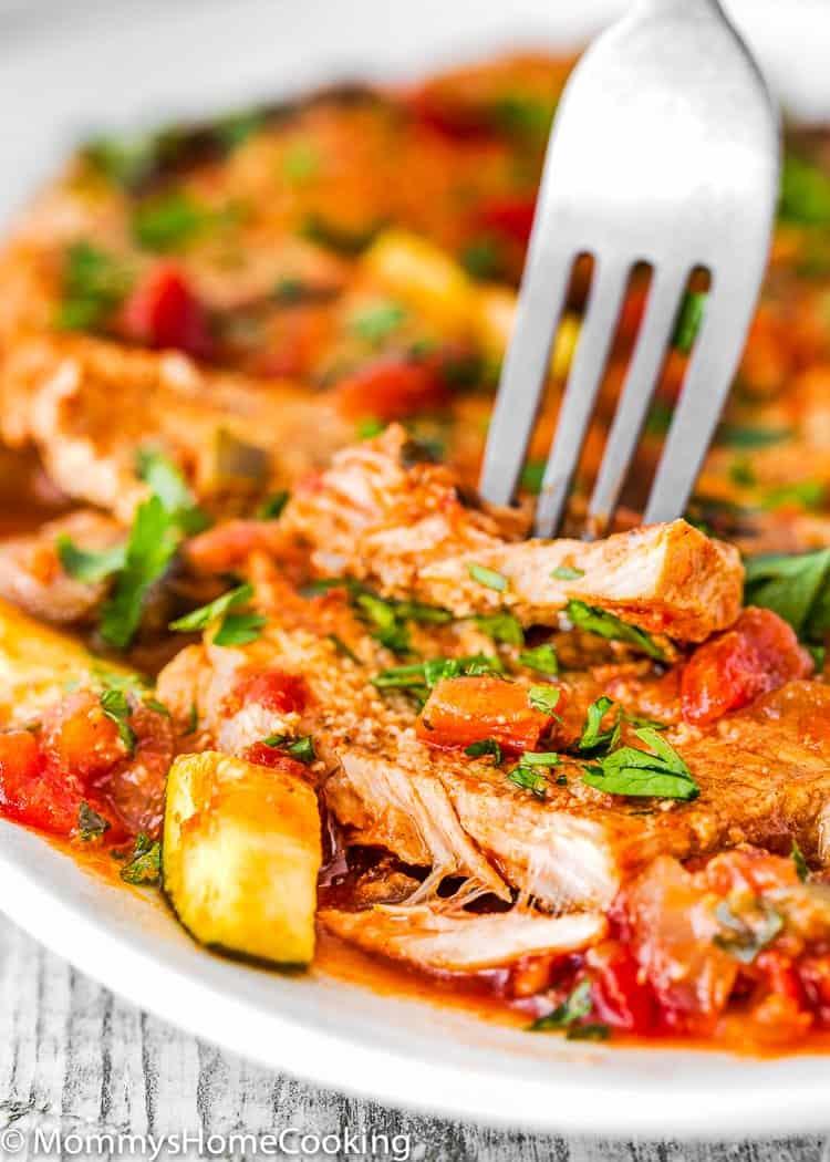 Instant Pot Italian Pork Chops cut open