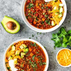 2 bowls of Healthy Low Carb Turkey Chili