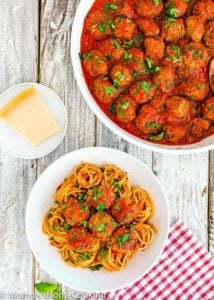 A plate of spaghetti and eggless meatballs