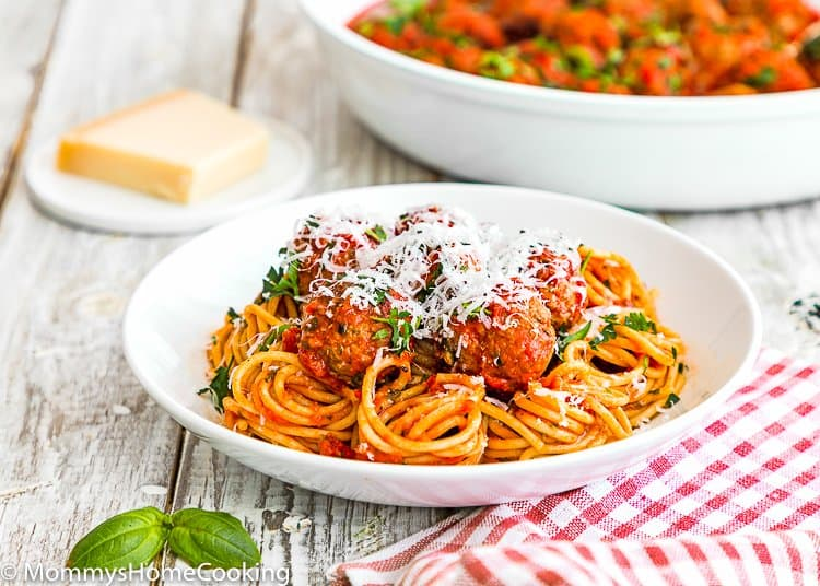 a plate of the BEST Eggless Italian Meatballs and pasta