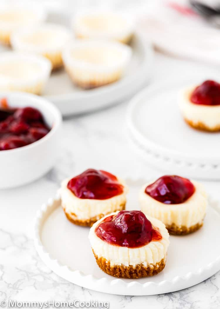 Three Easy Eggless Mini Cheesecakes with strawberry sauce