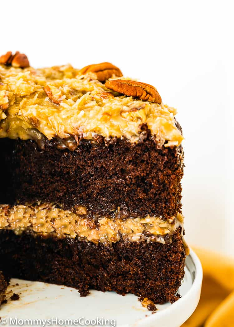 Eggless German Chocolate Cake sliced