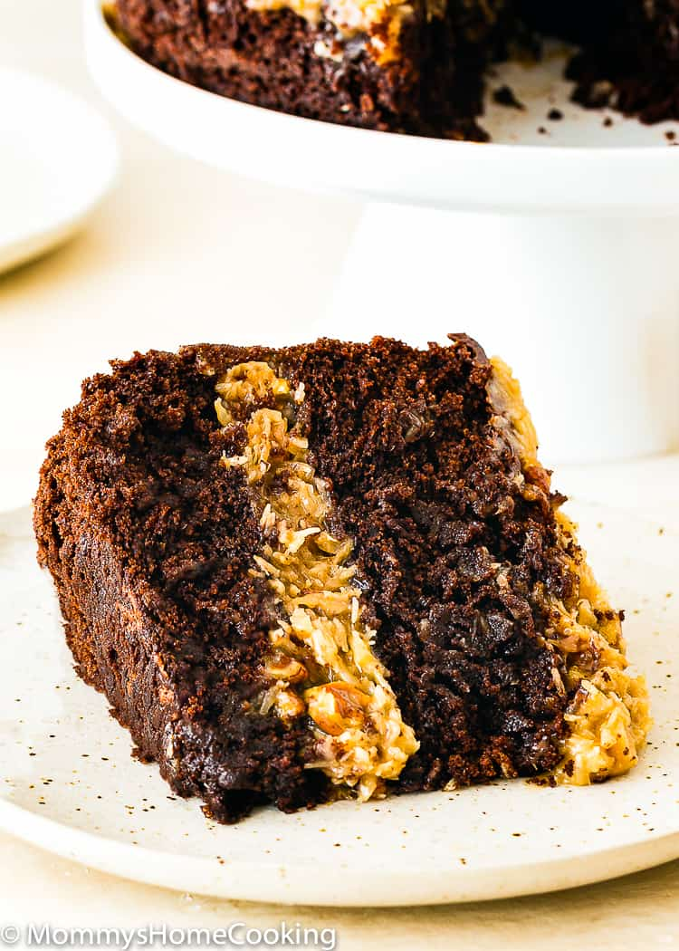 a slice of Eggless German Chocolate Cake