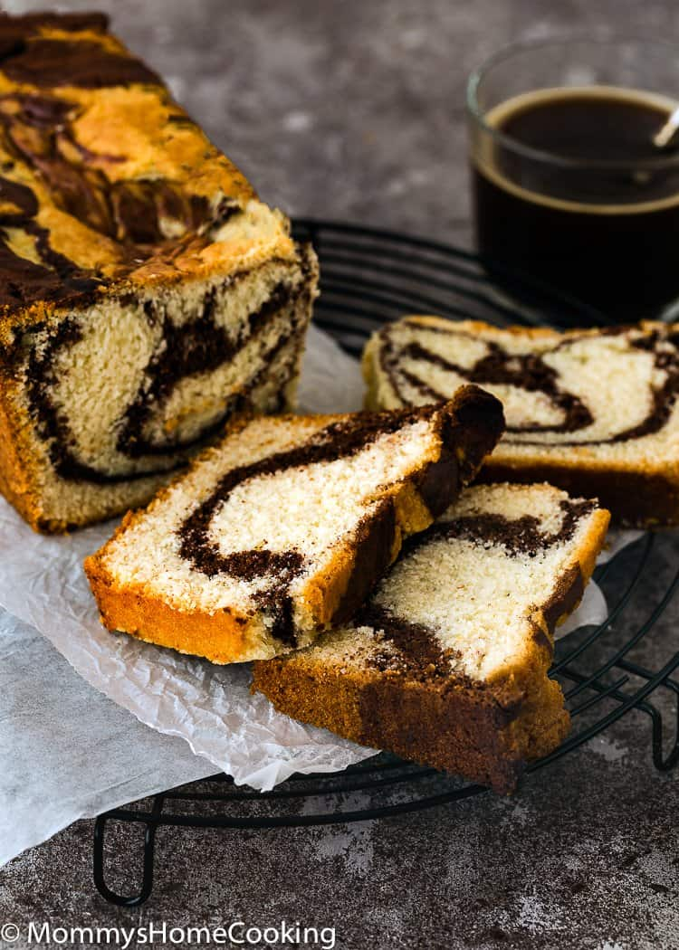 Eggless Marble Cake sliced over a cooling rack