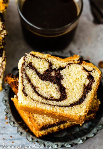 closeup view of Eggless Marble Cake loaf slices