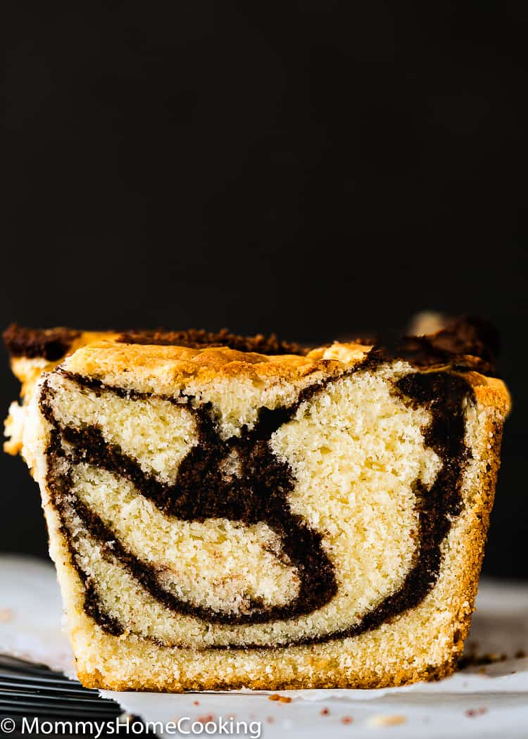 Eggless Marble Cake sliced showing the inside texture