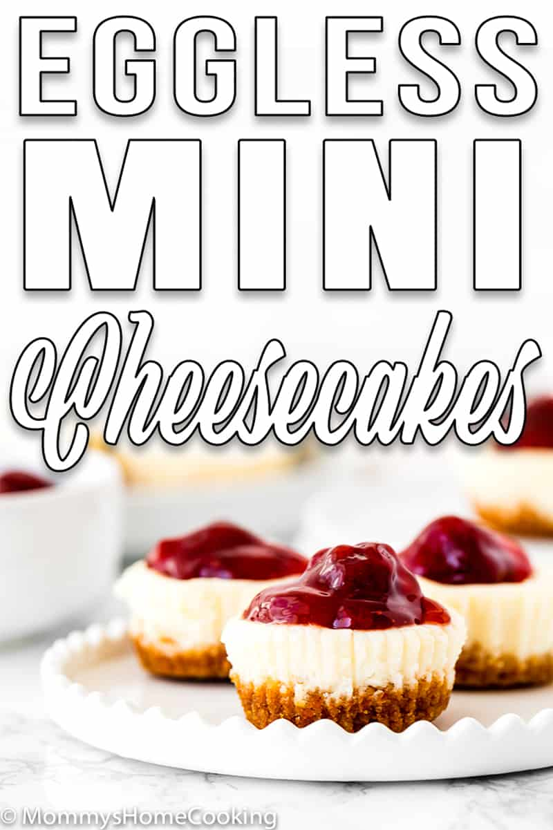 Easy Eggless Mini Cheesecakes with strawberry sauce in a white plate with descriptive text