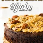 Eggless German Chocolate Cake in a cake stand with descriptive text