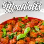 eggless Italian meatballs in a skillet with descriptive text