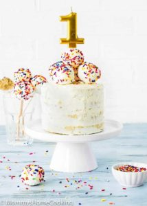 eggless smash cake decorated with cake pops