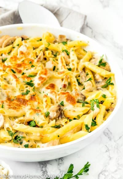 Chicken Tetrazzini in a white skillet