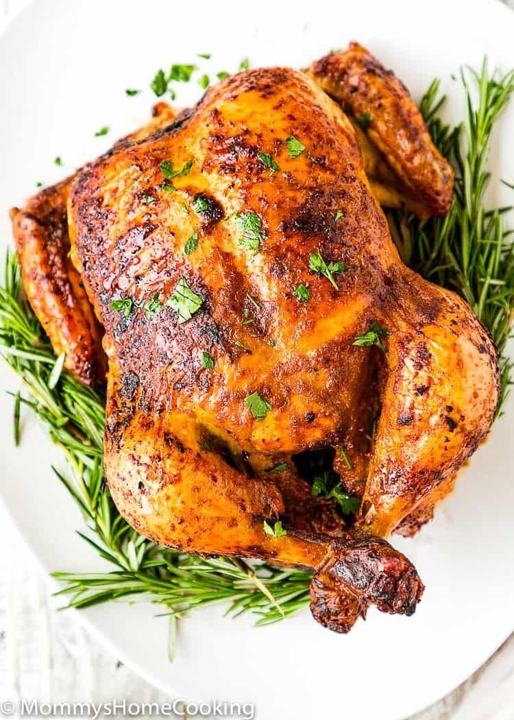Easy Venezuelan Roasted Chicken garnished with cilantro