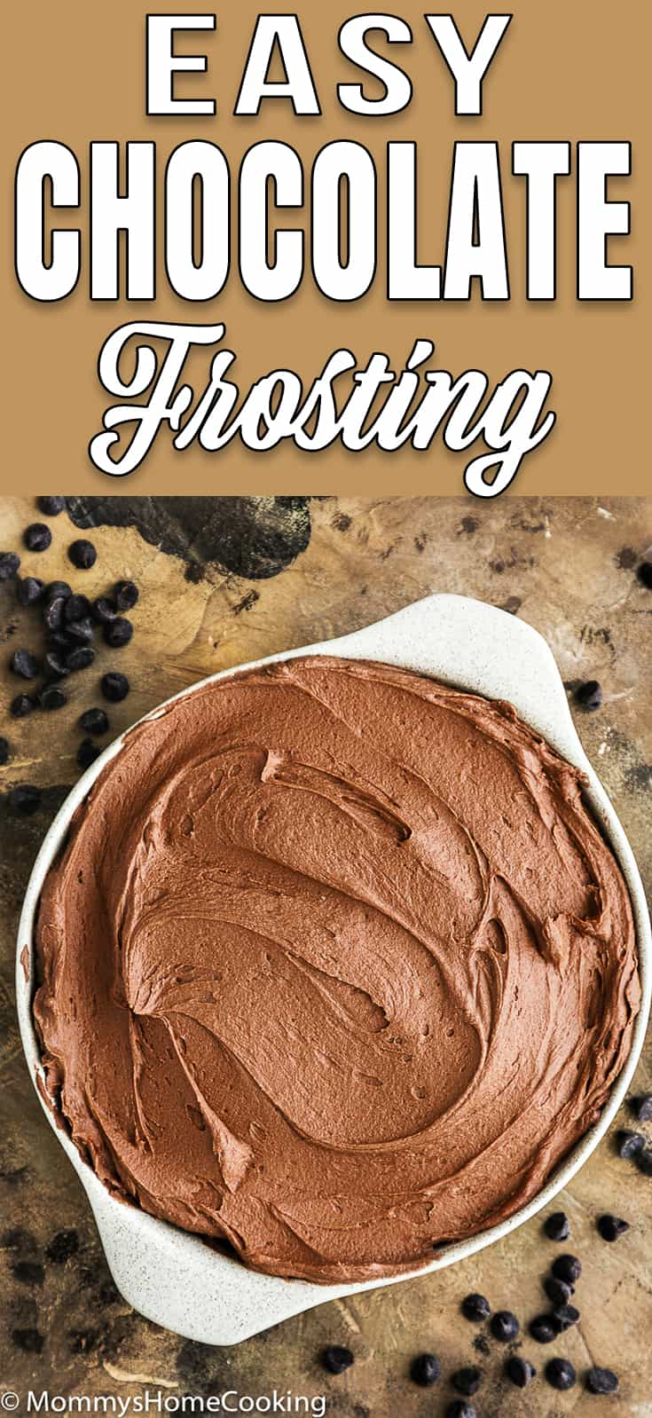 smooth chocolate frosting in a bowl with descriptive text