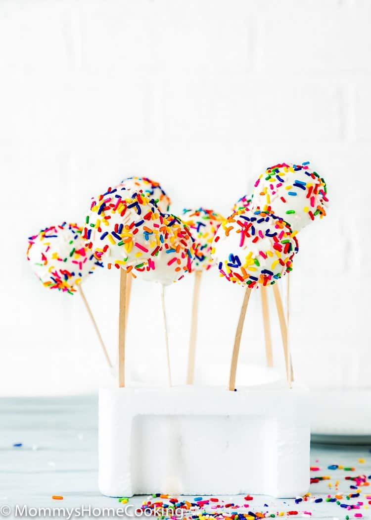 Easy Eggless Homemade Cake Pops cooling in a piece of styrofoam