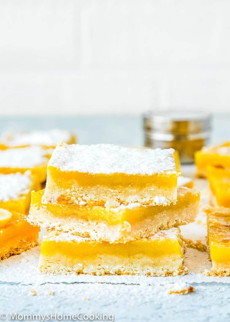 Easy Eggless Lemon Bars stack of 3