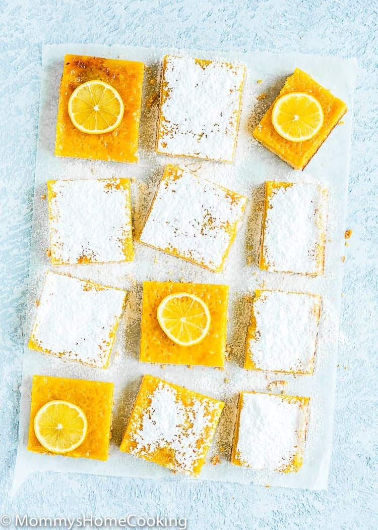Easy Eggless Lemon Bars dusted with icing sugar