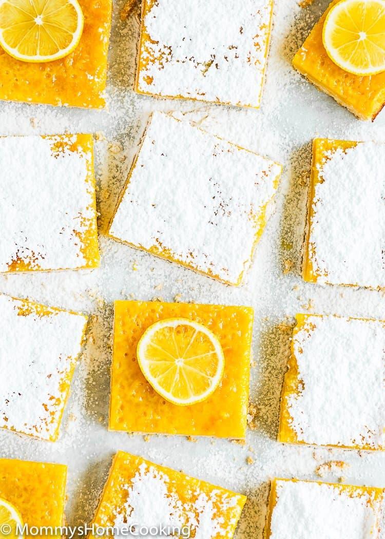 Eggless Lemon Bars over a parchment paper
