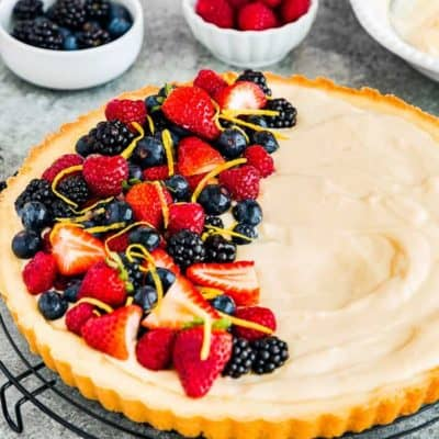 Eggless Fruit Tart with fresh berries and eggless pastry cream