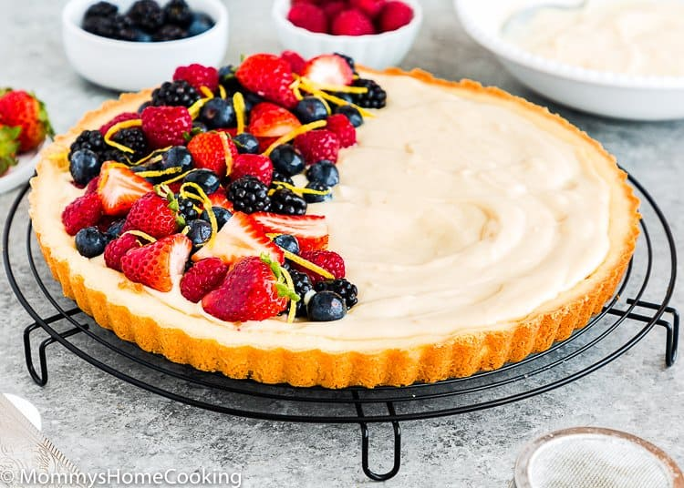 Eggless Fruit Tart with eggless pastry cream