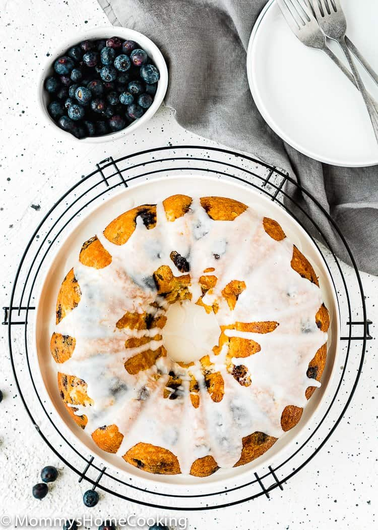 Eggless Lemon Blueberry Cake with glaze