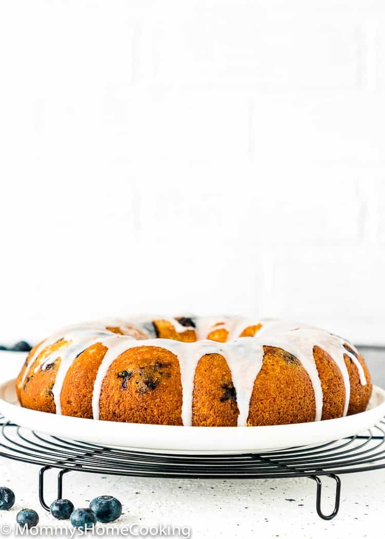 Eggless Lemon Blueberry Bundt Cake in a serving plate