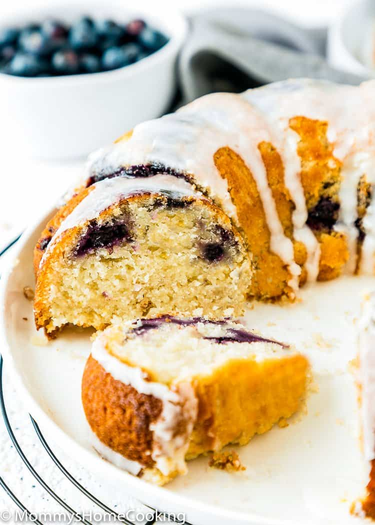 sliced Eggless Lemon Blueberry Bundt Cake