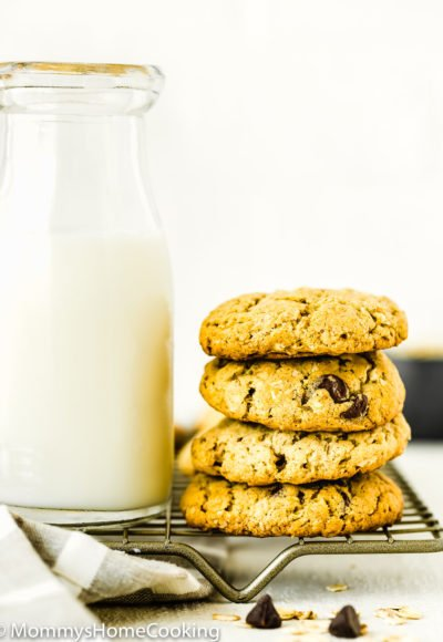 stack of Eggless Oatmeal Cookies with a glass of milk