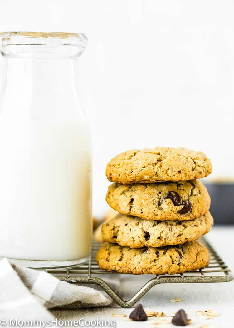 Eggless Oatmeal Cookies stack with milk