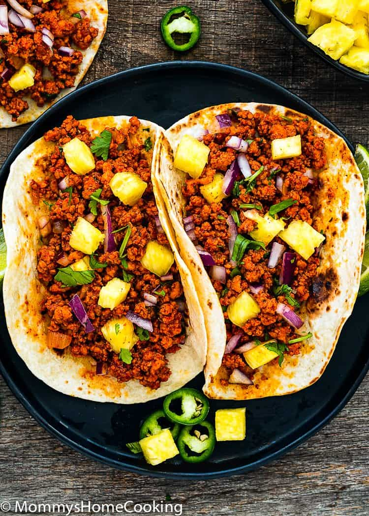 Easy Tacos al Pastor with pineapple, onion and cilantro