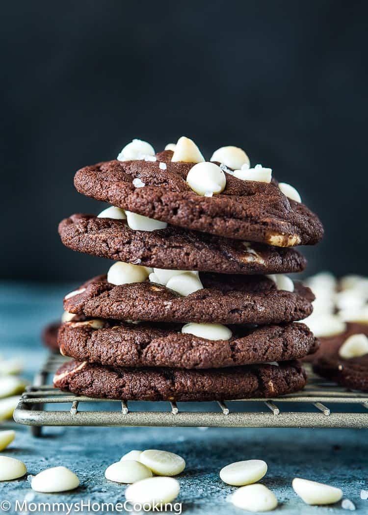 Eggless White Chip Chocolate Cookies stack