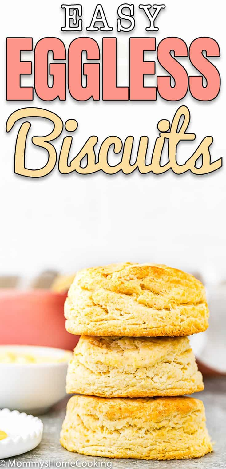Easy Eggless Flaky Biscuits stack with text overlay