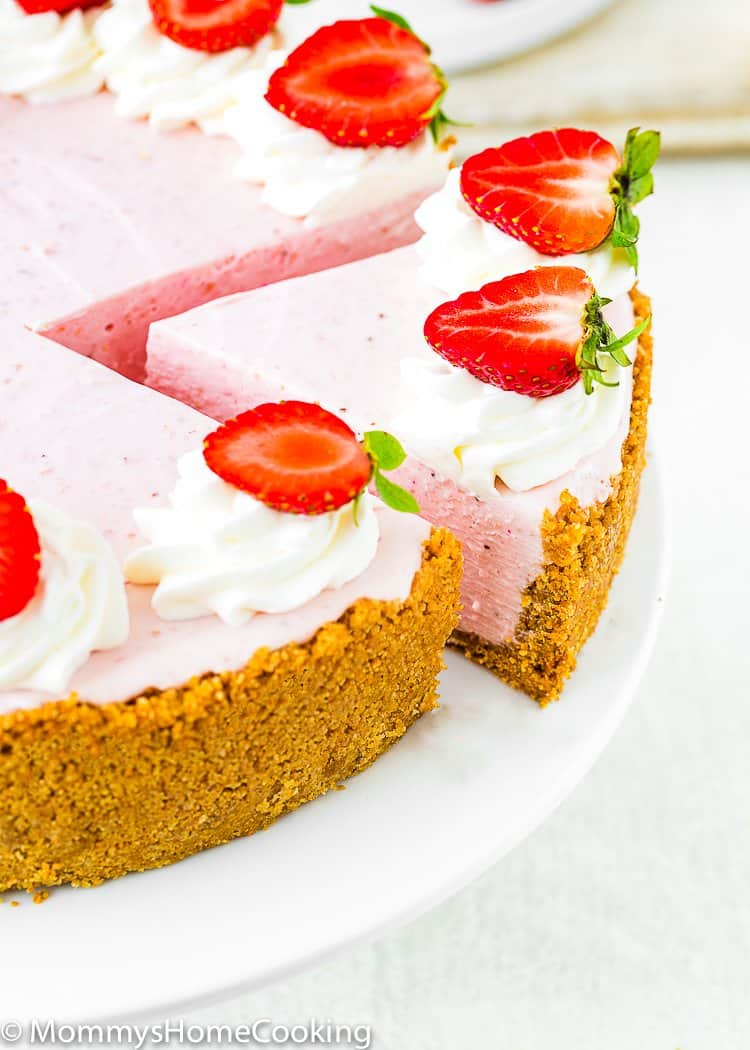 Best No-Bake Strawberry Cheesecake sliced