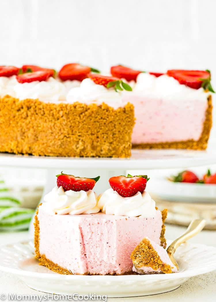 slice of Best No-Bake Strawberry Cheesecake