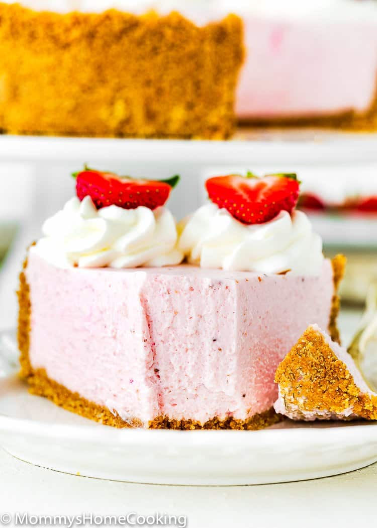 Best No-Bake Strawberry Cheesecake slice showing its creamy texture