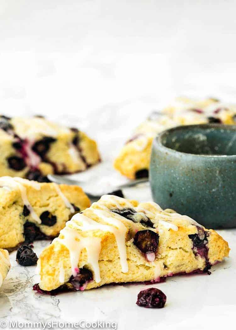 Eggless Blueberry Scones with sugar glaze