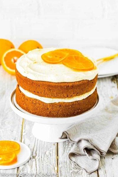 Easy Eggless Orange Cake on cake stand