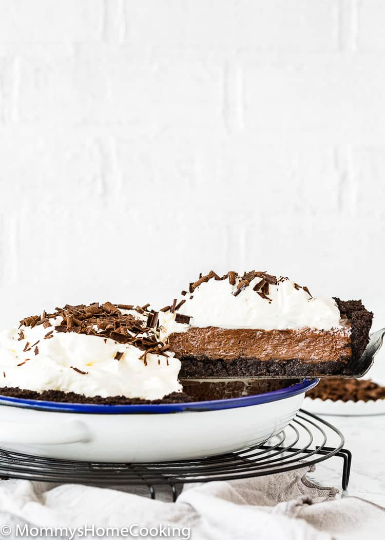 No-Bake Eggless Chocolate Cream Pie over a cooling rack