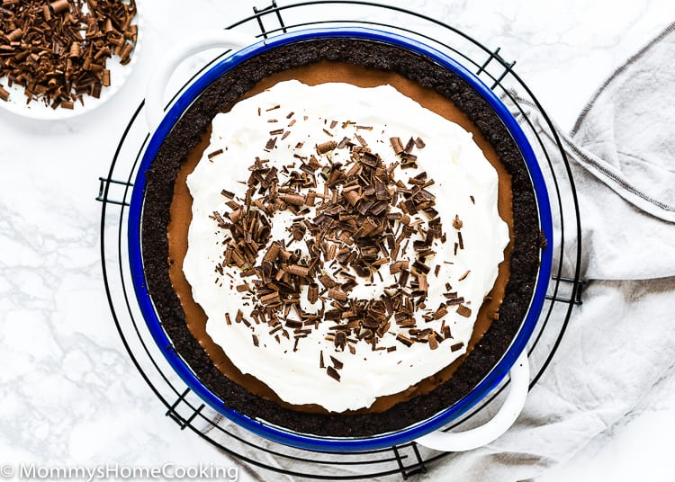 No-Bake Eggless Chocolate Cream Pie with whipped cream and shaved chocolate