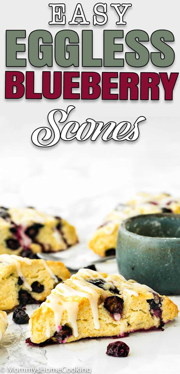 Eggless Blueberry Scones with sugar glaze with text overlay