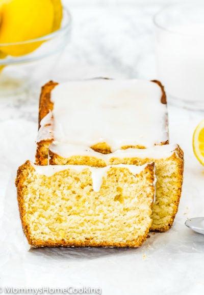 sliced Eggless Lemon Pound Cake with glaze