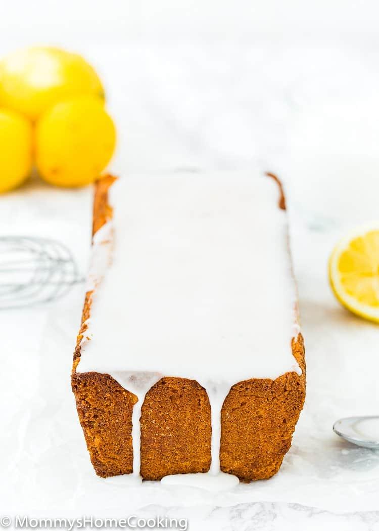 Eggless Lemon Pound Cake loaf with sugar glaze