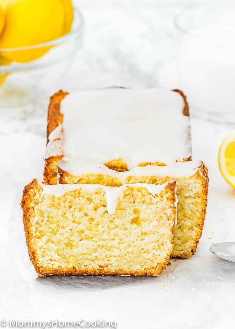 sliced Eggless Lemon Pound Cake loaf