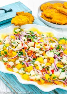 Fish and Mango Ceviche on a white plate