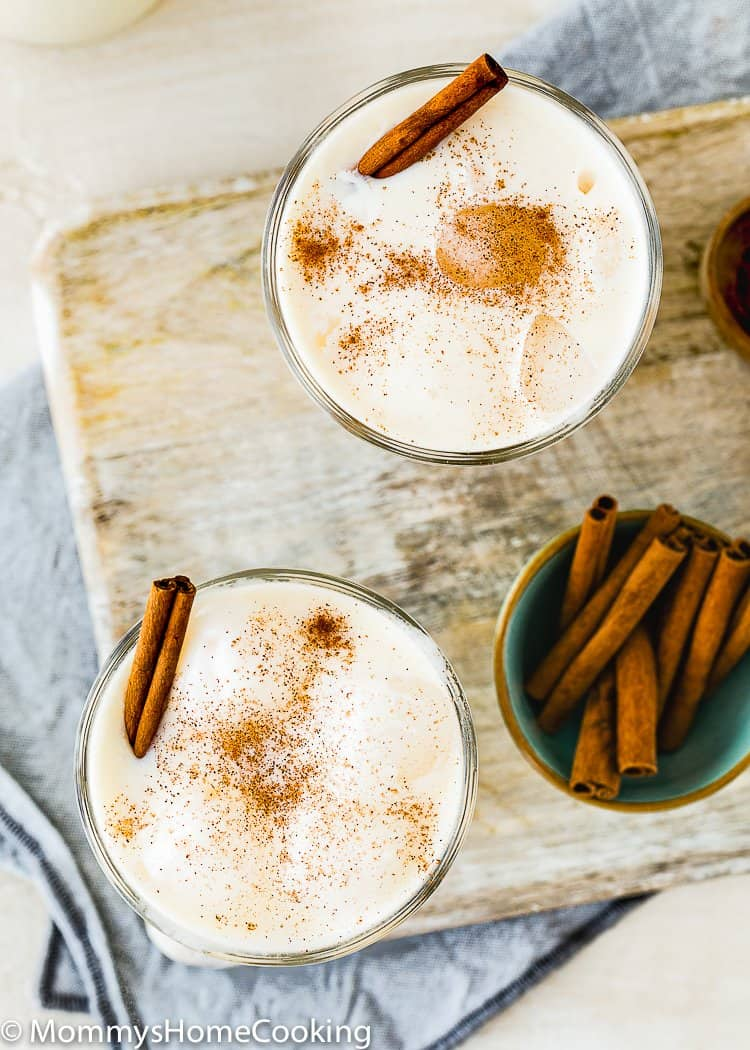 two glasses of Easy Venezuelan Chicha with cinnamon