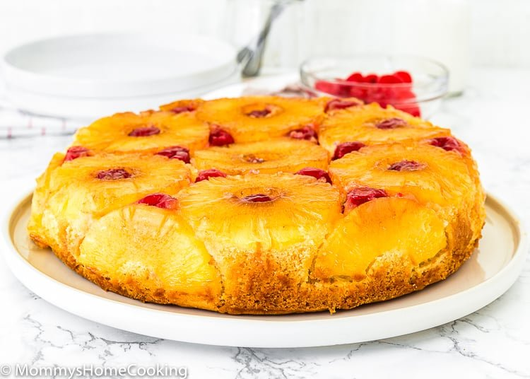 Eggless Pineapple Upside Down Cake over a serving plate