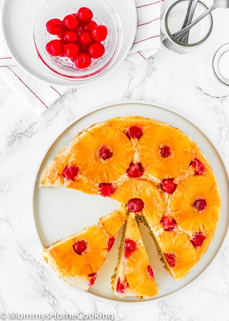 Eggless Pineapple Upside Down Cake sliced