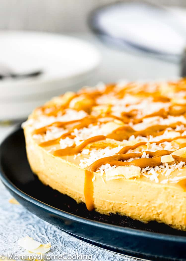 No-Bake Eggless Dulce de Leche Cheesecake with coconut